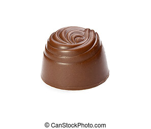 still life of chocolate praline on white background with clipping path