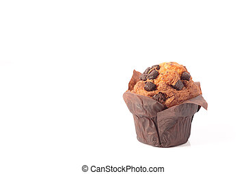 chocolate muffins isolated on a white background with copyspace.