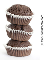 Chocolate muffins stack