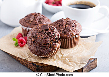 Chocolate muffins with a cup of coffee