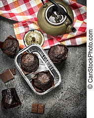 Chocolate muffins with hot tea.