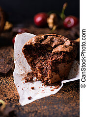 Chocolate muffins with nuts