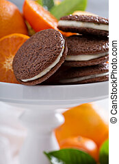 chocolate, naranja, galletas, con, crema, relleno