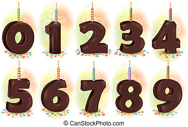 Chocolate numbers candles for holiday cake