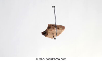 Chocolate on a fishing hook isolated on white background