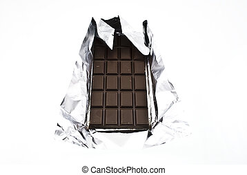 Chocolate on a foil