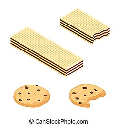 Chocolate or Cocoa cookies and crispy wafers isometric view isolated on white background.