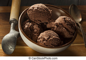 chocolate oscuro, casero, helado