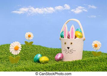 chocolate, páscoa, eggs., cheio, cesta