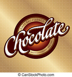 chocolate packaging design, hand lettering logotype (vector)