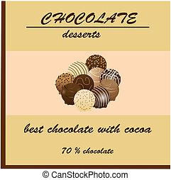 chocolate, pacote, desenho