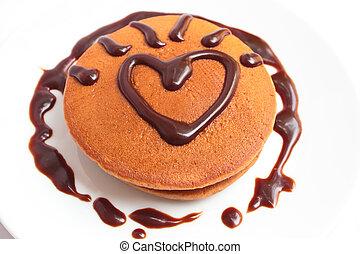 Chocolate pancakes with chocolate sauce. - chocolate ...
