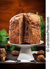 Chocolate panettone cake for Christmas