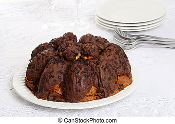 chocolate Panettone on a plate