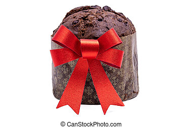 chocolate panettone with red christmas bow isolated on white background