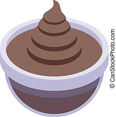 Chocolate paste bowl icon. Isometric of chocolate paste bowl vector icon for web design isolated on white background