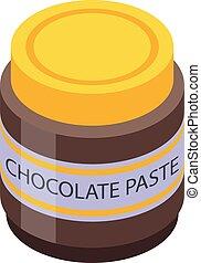 Chocolate paste glass jar icon. Isometric of chocolate paste glass jar vector icon for web design isolated on white background