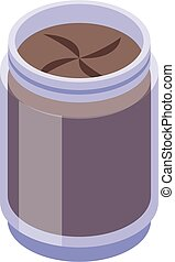 Chocolate paste jar icon. Isometric of chocolate paste jar vector icon for web design isolated on white background