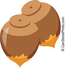 Chocolate paste nuts icon. Isometric of chocolate paste nuts vector icon for web design isolated on white background