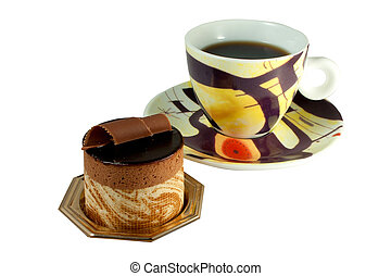 Chocolate Pastry on white background with coffee