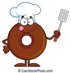 chocolate, personagem, cozinheiro, donut