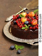 chocolate pie cake with berries dessert