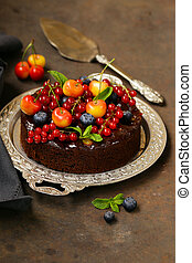chocolate pie cake with berries dessert