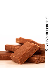 Chocolate pieces piled together