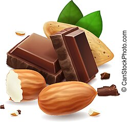 Chocolate pieces with almonds nuts. Vector illustration.