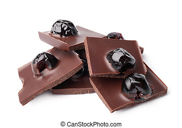 Chocolate pieces with cherry on white background