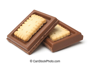 Chocolate pieces with cookies