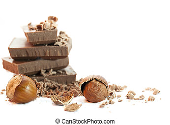 Chocolate pieces with nuts