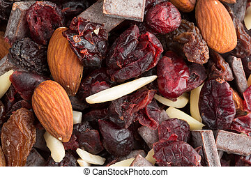 Chocolate plus nuts and cranberry trail mix close view
