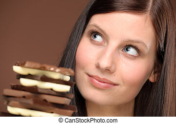 Chocolate - portrait young healthy woman