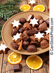 chocolate, praline and dessert for christmas