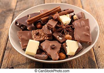 chocolate, praline and spice