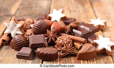 chocolate, praline for christmas