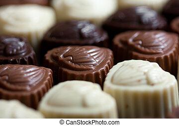 Chocolate praline or truffle close up