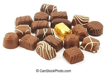 chocolate praline - sweet chocolate praline isolated on...