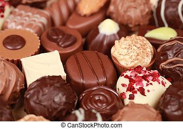 Assorted white, dark and milk chocolate pralines