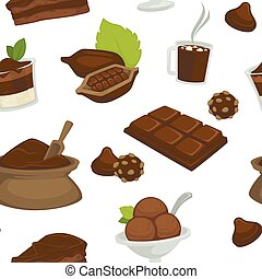 Chocolate products, beans and powder in bags vector -...