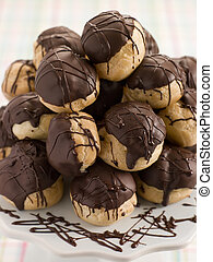 Chocolate Profiteroles on a Cake Stand
