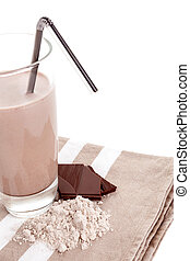 Chocolate protein powder in glass cup