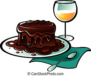Chocolate Pudding Cake - Chocolate pudding cake and glass of...