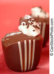 Chocolate pudding in a chocolate cup - Fresh chocolate...