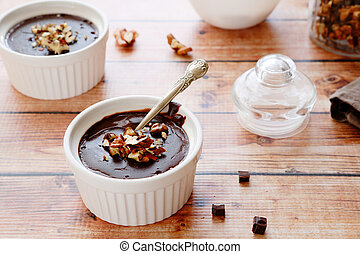 chocolate pudding in baking dish