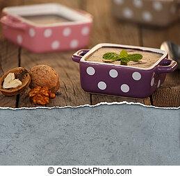 Chocolate pudding in polka dot bowls