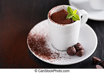 Chocolate pudding in small cups - Dark chocolate pudding...