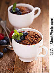 Chocolate pudding with cocoa and berries - Healthy chocolate...