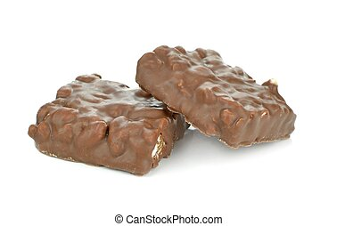 Chocolate coated puffed rice biscuits on a white background